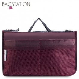 Bagstationz Premium Lightweight & Water-Resistant Multi-Compartment BAG IN BAG Organizer (Maroon)