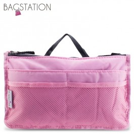 Bagstationz Premium Lightweight & Water-Resistant Multi-Compartment BAG IN BAG Organizer (Pink)