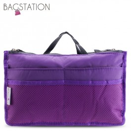 Bagstationz Premium Lightweight & Water-Resistant Multi-Compartment BAG IN BAG Organizer (Purple)