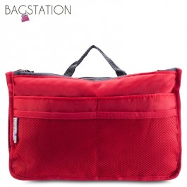 Bagstationz Premium Lightweight & Water-Resistant Multi-Compartment BAG IN BAG Organizer (Red)