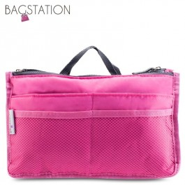 Bagstationz Premium Lightweight & Water-Resistant Multi-Compartment BAG IN BAG Organizer (Rose Pink)