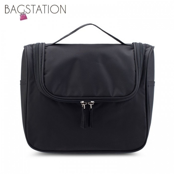 a5b36a2a513f BAGSTATIONZ Lightweight Water Resistant Travel Organizer And Toiletries  Pouch (Black)