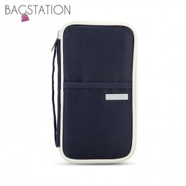 BAGSTATIONZ Hand Grab Travel Zip-Up Passport Wallet (Navy Blue)