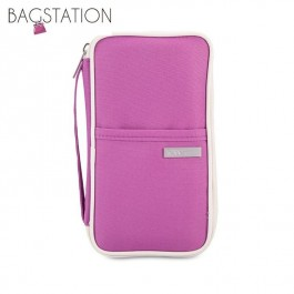 BAGSTATIONZ Hand Grab Travel Zip-Up Passport Wallet (Purple)