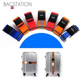 BAGSTATIONZ Adjustable Luggage Strap Belt with 3-Dial Security Lock (Rainbow)