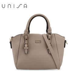 UNISA Saffiano Texture Convertible Satchel-Taupe