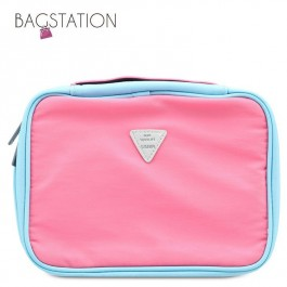 BAGSTATIONZ Colour Block Lightweight Water Resistant Travel Toiletries Pouch-Pink