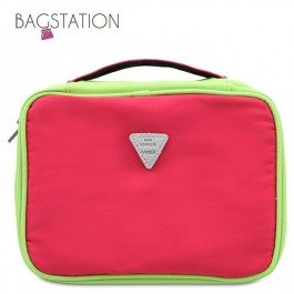 BAGSTATIONZ Colour Block Lightweight Water Resistant Travel Toiletries Pouch-Rose Pink