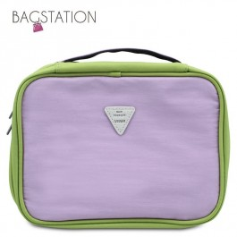 BAGSTATIONZ Colour Block Lightweight Water Resistant Travel Toiletries Pouch-Light Purple