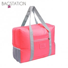 BAGSTATIONZ Travel Bag With Luggage Carrier Holder-Peach