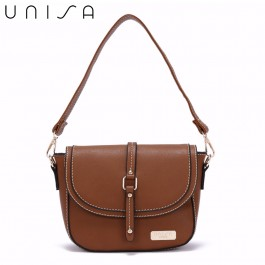 UNISA Faux Leather 2-Way Usage Sling Bag-Brown