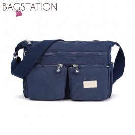 BAGSTATIONZ Crinkled Nylon Multi-Compartment Sling Bag-Navy Blue