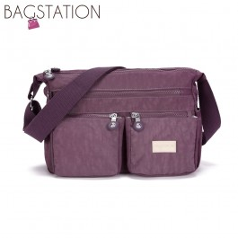 BAGSTATIONZ Crinkled Nylon Multi-Compartment Sling Bag-Purple