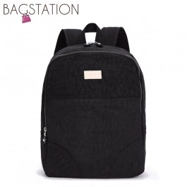 BAGSTATIONZ Crinkled Nylon Small Backpack-Black