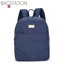 BAGSTATIONZ Crinkled Nylon Small Backpack-Navy Blue