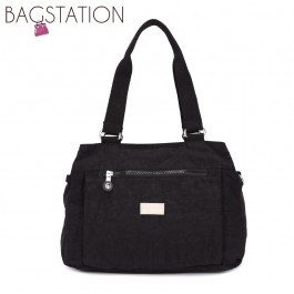 BAGSTATIONZ Crinkled Nylon Shoulder Bag-Black