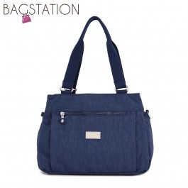 BAGSTATIONZ Crinkled Nylon Shoulder Bag-Navy Blue