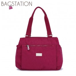 BAGSTATIONZ Crinkled Nylon Shoulder Bag-Maroon
