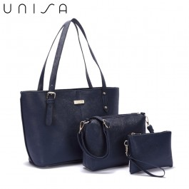 UNISA Saffiano Tote Bag Set Of 3-Navy Blue