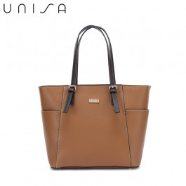 UNISA Colour Block Faux Leather Tote Bag-Brown