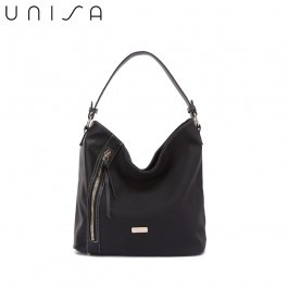 UNISA Duo-Texture Hobo Bag-Black