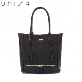 UNISA Duo-Texture Tote Bag-Black