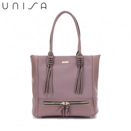 UNISA Duo-Texture Tote Bag-Purple