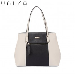 UNISA Colour Block Saffiano Shoulder Bag-Black