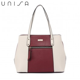 UNISA Colour Block Saffiano Shoulder Bag-Maroon