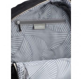 BAGSTATIONZ Crinkled Nylon Backpack With Zebra Strap-Black