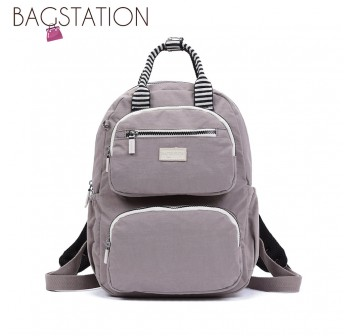 BAGSTATIONZ Crinkled Nylon Backpack With Zebra Strap-Khaki