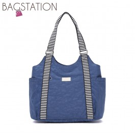 BAGSTATIONZ Crinkled Nylon Shoulder Bag With Zebra Strap-Navy Blue