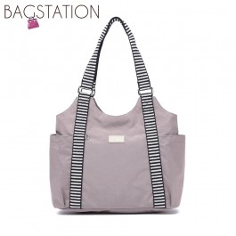 BAGSTATIONZ Crinkled Nylon Shoulder Bag With Zebra Strap-Khaki