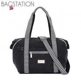 BAGSTATIONZ Crinkled Nylon Top Handle Bag With Zebra Strap-Black