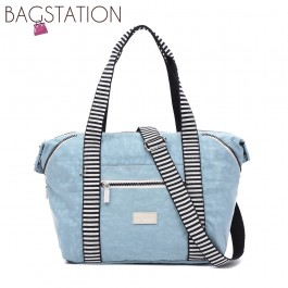 BAGSTATIONZ Crinkled Nylon Top Handle Bag With Zebra Strap-Blue