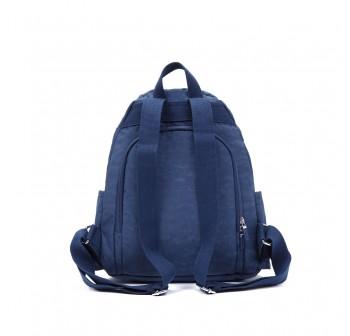 BAGSTATIONZ Crinkled Nylon Backpack-Navy Blue