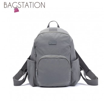 BAGSTATIONZ Crinkled Nylon Backpack-Grey
