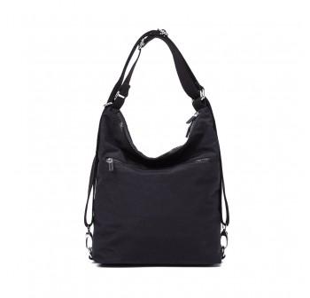 BAGSTATIONZ Crinkled Nylon 2 Way-Usage Shoulder Bag-Black
