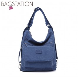 BAGSTATIONZ Crinkled Nylon 2 Way-Usage Shoulder Bag-Navy Blue