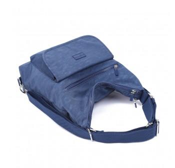BAGSTATIONZ Crinkled Nylon 2 Way-Usage Shoulder Bag-Navy Blue