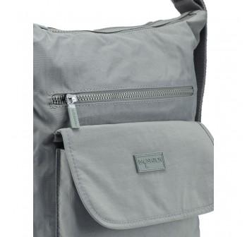 BAGSTATIONZ Crinkled Nylon 2 Way-Usage Shoulder Bag-Grey