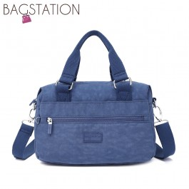 BAGSTATIONZ Crinkled Nylon Convertible Top Handle Bag-Navy Blue