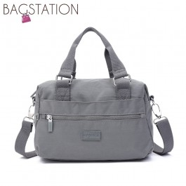 BAGSTATIONZ Crinkled Nylon Convertible Top Handle Bag-Grey