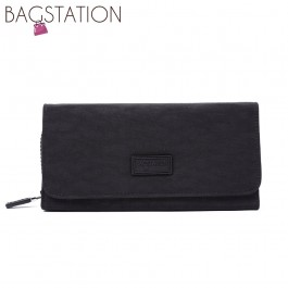 BAGSTATIONZ Crinkled Nylon Bi-Fold Wallet-Black