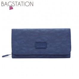 BAGSTATIONZ Crinkled Nylon Bi-Fold Wallet-Navy Blue