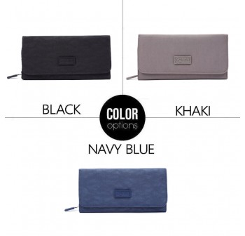 BAGSTATIONZ Crinkled Nylon Bi-Fold Wallet-Navy Blue