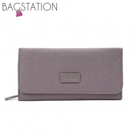 BAGSTATIONZ Crinkled Nylon Bi-Fold Wallet-Khaki