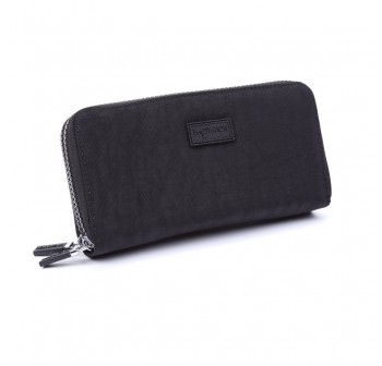 BAGSTATIONZ Crinkled Nylon Double Zip-Up Wallet-Black