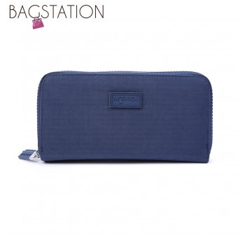 BAGSTATIONZ Crinkled Nylon Double Zip-Up Wallet-Navy Blue