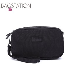 BAGSTATIONZ Crinkled Nylon Wristlet Pouch-Black